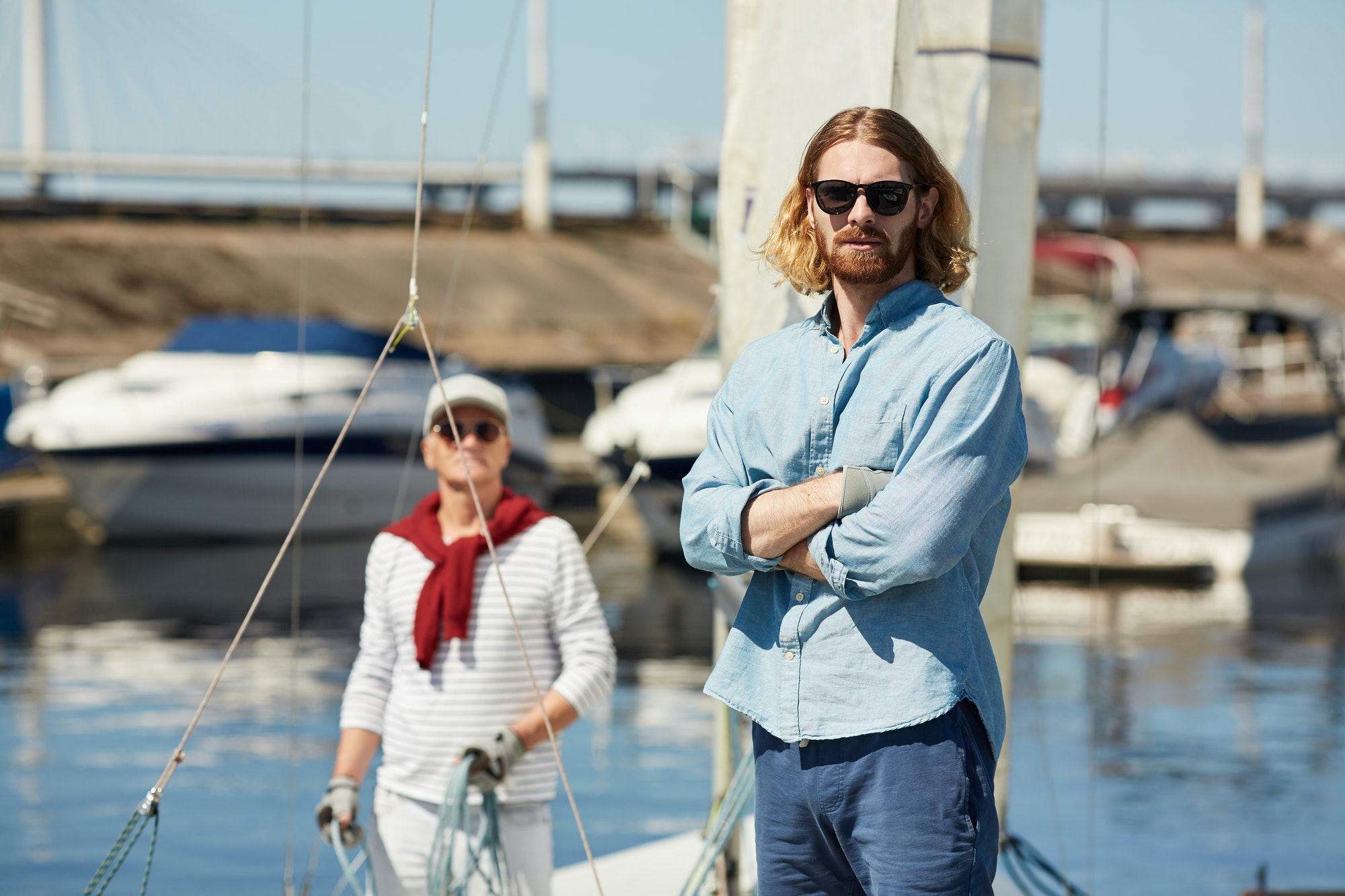 Hipster man at yacht station