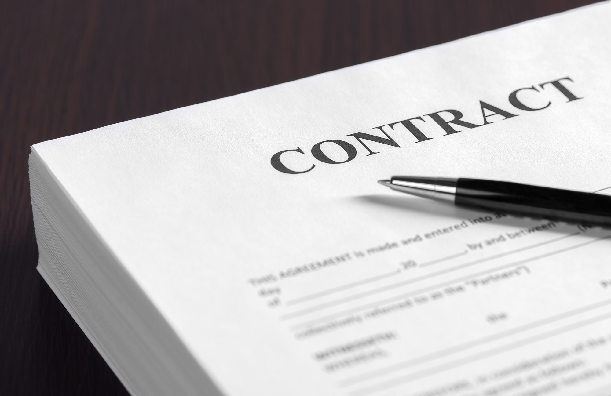 The contract on desktop